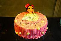 卡通粉色生日蛋糕