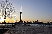 夕阳秋景龙源湖