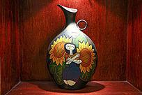 人物图案陶泥花瓶装饰