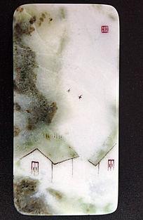 玉雕山野民居图方章