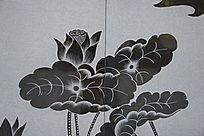 荷塘荷叶图案雕刻图