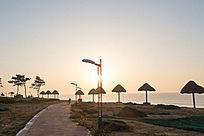 海边沙滩日出风光