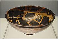 南宋吉州窑黑釉白彩碗