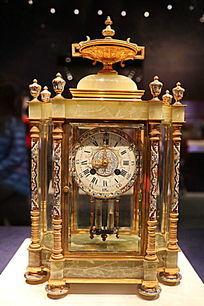 清代铜镀金嵌珐琅六角钟