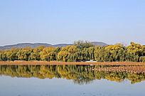 颐和园湖光山色翠绿堤的倒影