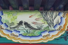 房梁彩绘画荷塘鲤鱼