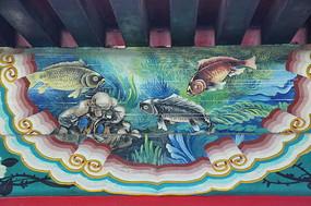 房梁彩绘画水底鲤鱼