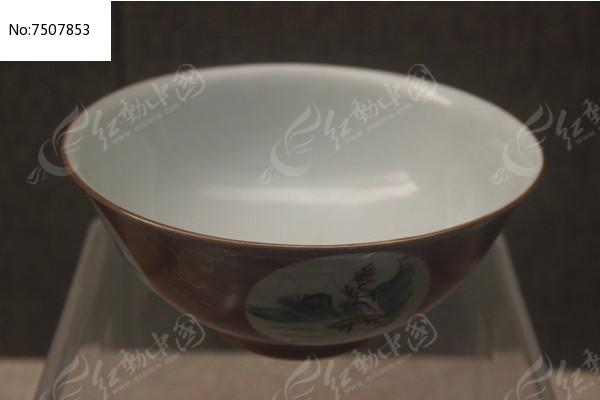 清代乾隆款枣红地五彩开光瓷碗高清图片下载 编号7507853 红动网