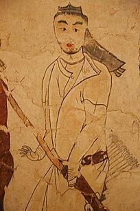 忻州九原岗北朝墓壁画白衣猎人