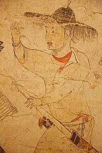 忻州九原岗北朝墓壁画戴斗笠猎人