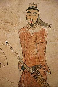 忻州九原岗北朝墓壁画带箭男人