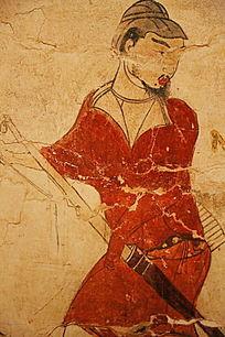忻州九原岗北朝墓壁画红衣猎人