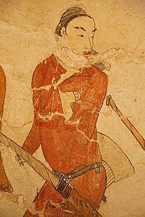 忻州九原岗北朝墓壁画红衣男人