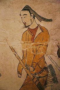 忻州九原岗北朝墓壁画男猎人