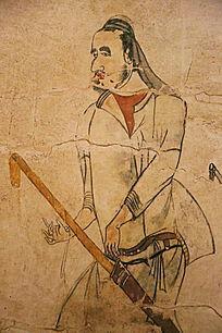 忻州九原岗北朝墓壁画执箭男人
