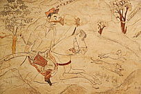 忻州九原岗北朝墓壁画追逐猎物