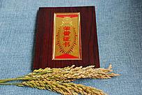稻谷与荣誉证书