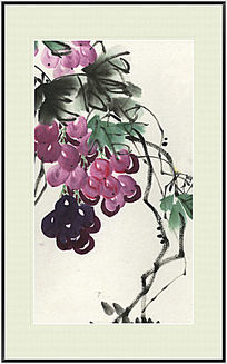 国画葡萄 葡萄水墨画