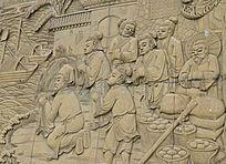祈祷的古人浮雕