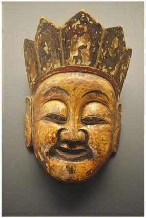 人物面具木雕头像
