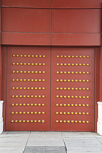 红地黄乳钉传统中式大门背景