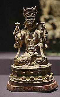 明代漆金文殊菩萨坐像