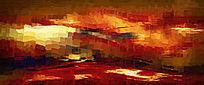 暖色现代抽象油画