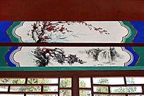 长廊彩绘梅竹山水