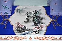 长廊彩绘山水画