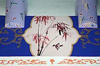 长廊彩绘竹子麻雀