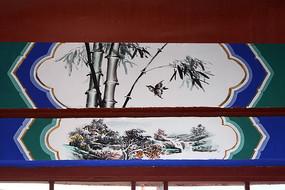 古建彩绘竹林飞鸟