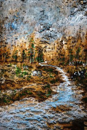 桦树皮画《森林小路》
