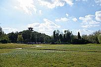 城市公园的蓝天白云