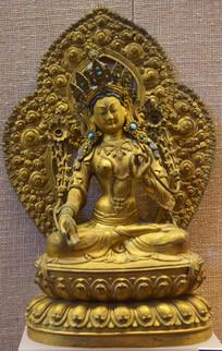 白救度佛母鎏金塑像-佛像