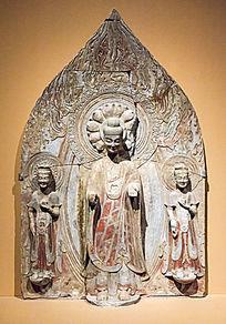 彩绘贴金石雕佛菩萨三尊像