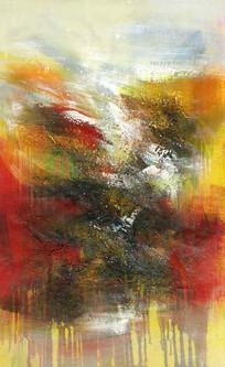 抽象玄关背景墙 竖版抽象油画