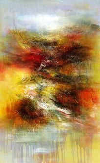 竖版抽象油画 玄关壁画