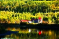 电脑画《河岸红房子》