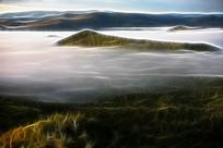 电脑画《山林云海》