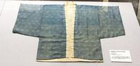 蓝地菱格卐字龙纹双色棉对襟棉袄