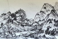 临摹画《富春山居图》(局部之3)