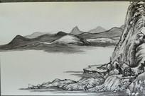 临摹画《富春山居图》(局部之6)