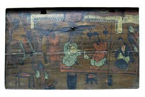 彩绘木板画奏乐图