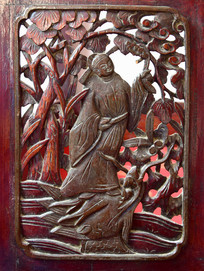 古装人物木雕图片
