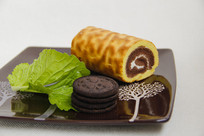 绿色面包巧克力餐点