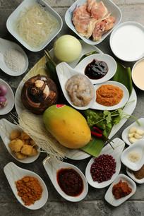 马来沙爹鸡肉串马来海鲜炒叻沙么么喳喳食材