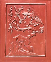 梅花喜鹊门板浮雕