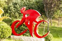 骑自行车艺术雕塑