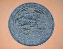 祥云中的大象-圆形石雕
