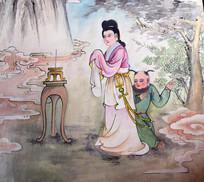 古代女子和儿童画像